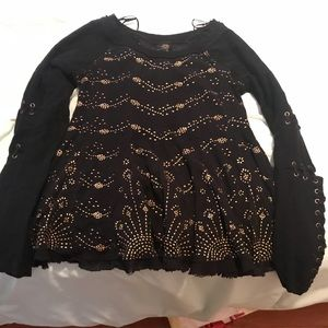 Gold Sparkle Black Sweater Top